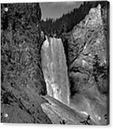Lower Falls In Yellowstone In Black And White Acrylic Print by Dan Sproul