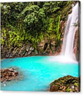 Lower Rio Celeste Waterfall Acrylic Print by Andres Leon