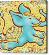 Lucky Elephant Turquoise Acrylic Print by Judith Grzimek