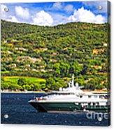 Luxury Yacht At The Coast Of French Riviera Acrylic Print by Elena Elisseeva