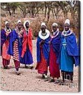 Maasai Women In Front Of Their Village In Tanzania Acrylic Print by Michal Bednarek