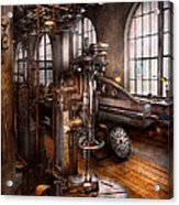 Machinist - Industrial Drill Press  Acrylic Print by Mike Savad