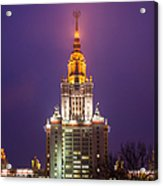 Main Building Of Moscow State University At Winter Evening - Featured 3 Acrylic Print by Alexander Senin