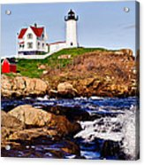 Maine's Nubble Light Acrylic Print by Mitchell R Grosky
