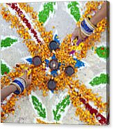 Making Rangoli With Flower Petals And Oil Lamps Acrylic Print by Tim Gainey