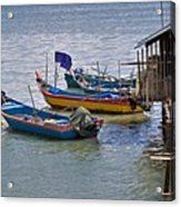 Malaysian Fishing Jetty Acrylic Print by Louise Heusinkveld