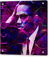 Malcolm X 20140105m88 With Text Acrylic Print by Wingsdomain Art and Photography
