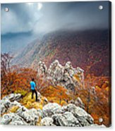 Man And The Mountain Acrylic Print by Evgeni Dinev