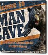 Man Cave Balck Bear Acrylic Print by JQ Licensing