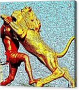 Man Fighting With Lion Bravery Acrylic Print by Deepti Chahar