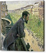 Man On A Balcony Acrylic Print by Gustave Caillebotte
