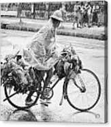 Man Riding Bicycle Carrying Chickens Acrylic Print by Stuart Corlett