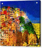 Manarola By Night Acrylic Print by George Rossidis