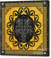 Mandala Obsidian Cross Acrylic Print by Bedros Awak