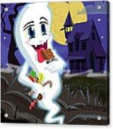 Manga Sweet Ghost At Halloween Acrylic Print by Martin Davey