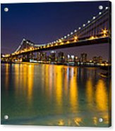 Manhattan Bridge Acrylic Print by Mircea Costina Photography