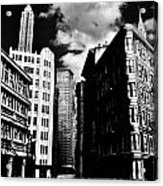 Manhattan Highlights B W Acrylic Print by Benjamin Yeager
