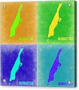 Manhattan Pop Art Map 2 Acrylic Print by Naxart Studio