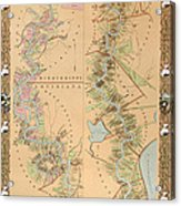 Map Depicting Plantations On The Mississippi River From Natchez To New Orleans Acrylic Print by American School