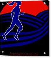 Marathon Runner Female Pushing Limits Poster Acrylic Print by Aloysius Patrimonio