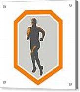 Marathon Runner Running Front Shield Retro Acrylic Print by Aloysius Patrimonio