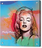 Marilyn Monroe Stylised Pop Art Drawing Sketch Poster Acrylic Print by Kim Wang