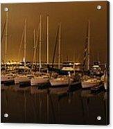 Marina At Night Acrylic Print by Jenny Hudson