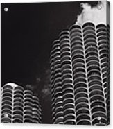 Marina City Morning B W Acrylic Print by Steve Gadomski