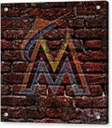 Marlins Baseball Graffiti On Brick  Acrylic Print by Movie Poster Prints