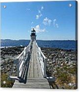 Marshall Point Lighthouse From Shoreline Acrylic Print by Joseph Rennie