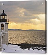 Marshall Point Lighthouse In Winter Maine  Acrylic Print by Keith Webber Jr