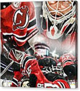 Martin Brodeur Collage Acrylic Print by Mike Oulton
