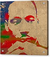 Martin Luther King Jr Watercolor Portrait On Worn Distressed Canvas Acrylic Print by Design Turnpike