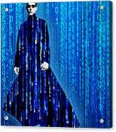 Matrix Neo Keanu Reeves Acrylic Print by Tony Rubino