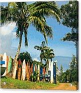 Maui Surfboard Fence - Peahi Acrylic Print by Sharon Mau