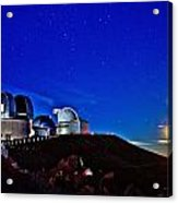 Mauna Kea At Moon Rise Acrylic Print by Bob Kinnison