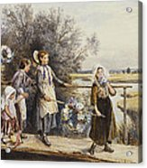 May Day Garlands Acrylic Print by Myles Birket Foster