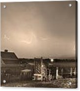 Mcintosh Farm Lightning Thunderstorm View Sepia Acrylic Print by James BO  Insogna