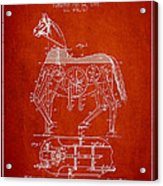 Mechanical Horse Patent Drawing From 1893 - Red Acrylic Print by Aged Pixel