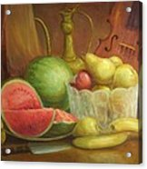Melody With Fruits Acrylic Print by Michael Chesnakov