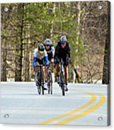 Men In A Bike Race Acrylic Print by Susan Leggett