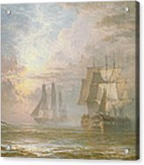 Men Of War At Anchor Acrylic Print by Henry Thomas Dawson