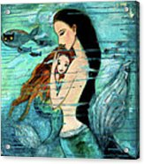 Mermaid Mother And Child Acrylic Print by Shijun Munns