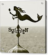Mermaid Weathervane In Sepia Acrylic Print by Ben and Raisa Gertsberg