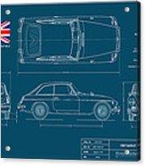 Mgb Gt Blueplanprint Acrylic Print by Douglas Switzer