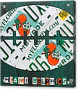 Miami Dolphins Football Recycled License Plate Art Acrylic Print by Design Turnpike