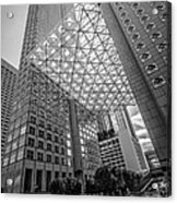 Miami Downtown Shadow Play - Black And White Acrylic Print by Ian Monk