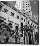 Miami Freedom Tower 1 - Miami - Florida - Black And White Acrylic Print by Ian Monk
