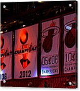 Miami Heat Banners Acrylic Print by J Anthony