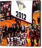 Miami Heat Championship Banner Acrylic Print by J Anthony